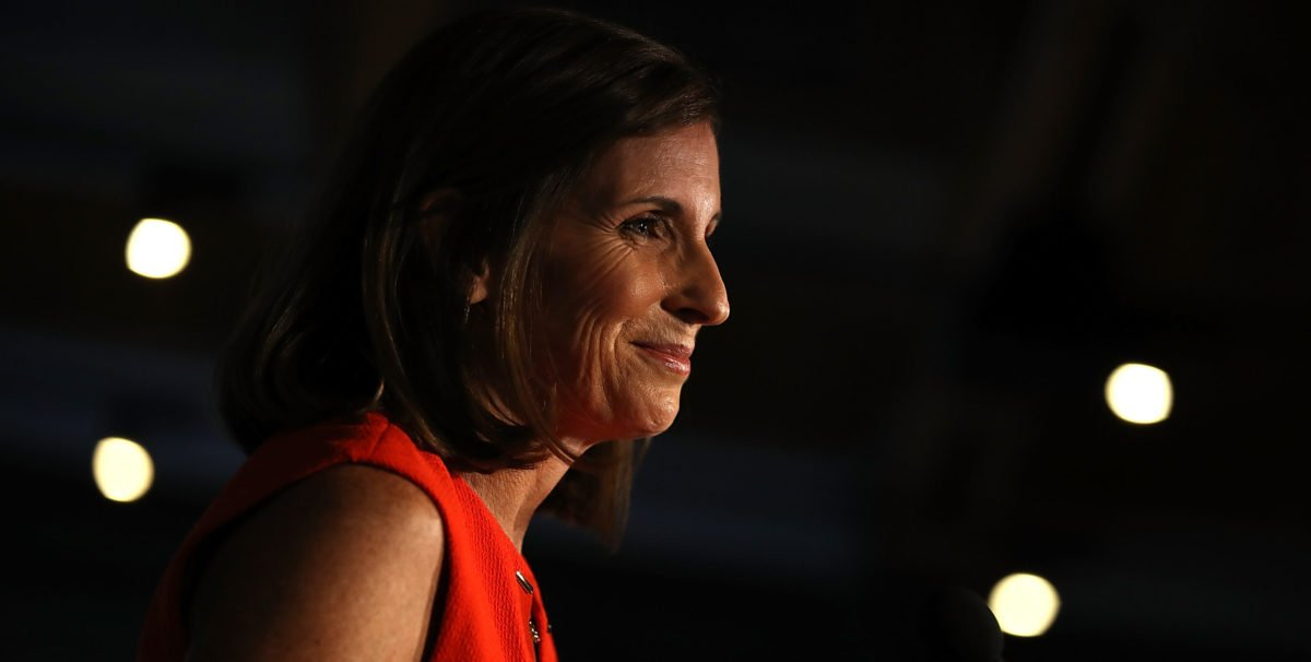 TEMPE, AZ - AUGUST 28: U.S. Senate candidate U.S. Rep. Martha McSally (R-AZ) speaks during her primary election night gathering at Culinary Drop Out at The Yard on August 28, 2018 in Tempe, Arizona. U.S. Rep. Martha McSally won the Arizona GOP senate primary. (Photo by Justin Sullivan/Getty Images)
