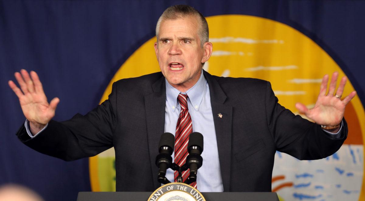 Republican Senate candidate Matt Rosendale speaks at rally in Bozeman, Montana