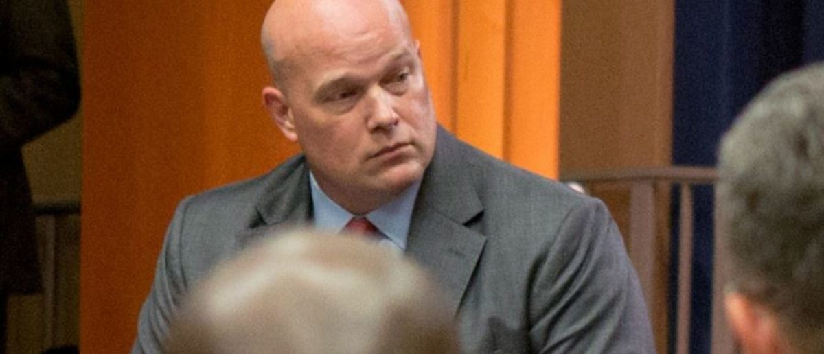 FILE PHOTO: Chief of Staff to the Attorney General Matthew Whitaker attends a roundtable discussion with foreign liaison officers at the Justice Department in Washington, U.S., August 29, 2018. REUTERS/Allison Shelley/File Photo