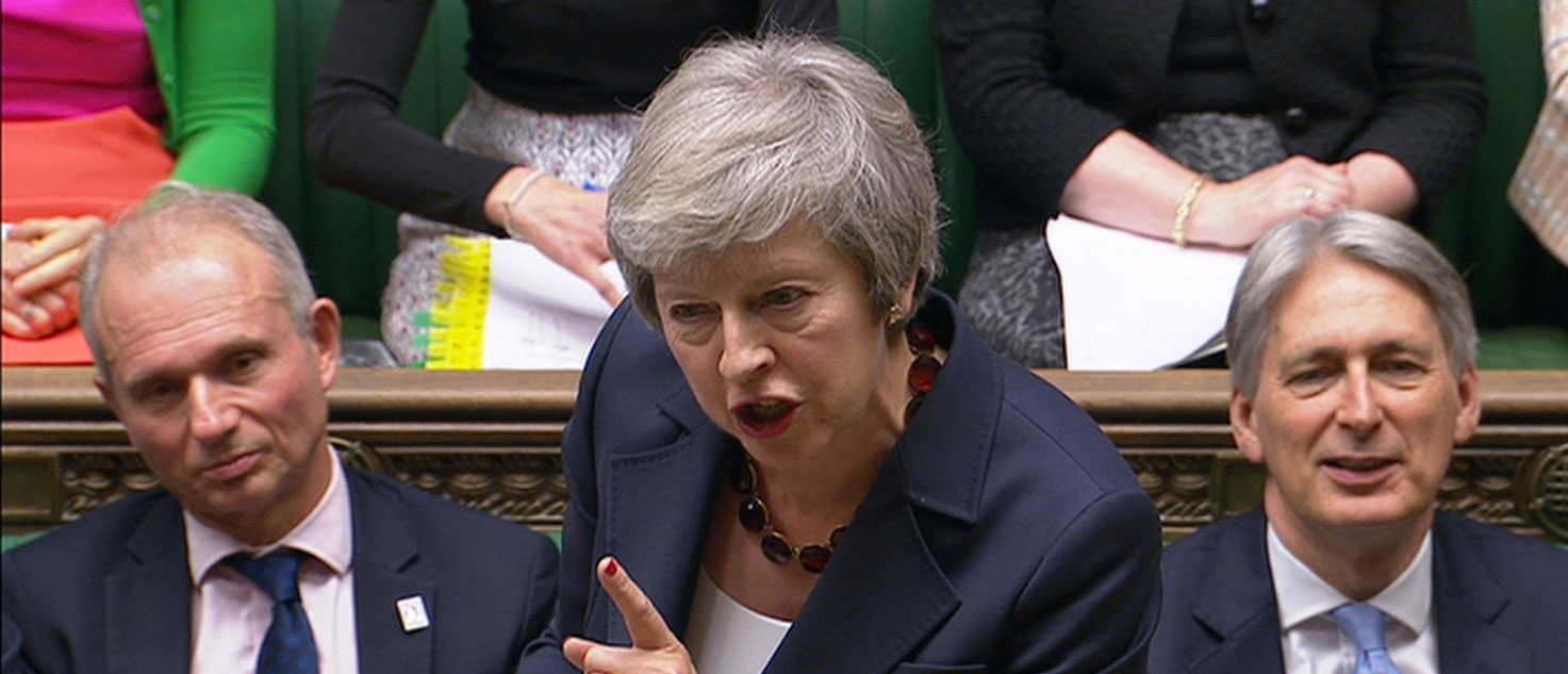 A still image from a video footage shows Britain's Prime Minister Theresa May speaking during Prime Minister's Questions in the House of Commons, in central London, Britain November 14, 2018. Parbul TV/Handout via Reuters TV