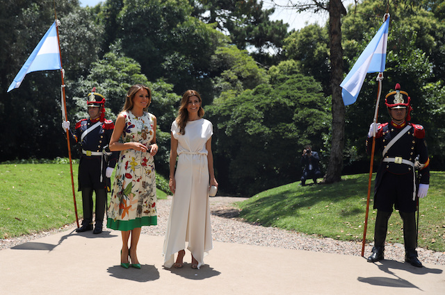 Argentina's first lady Juliana Awada welcomes U.S. first lady Melania Trump as she arrives for a visit at the Villa Ocampo museum during the G20 leaders summit in Buenos Aires, Argentina November 30, 2018. REUTERS/Pilar Olivares
