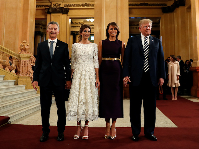 U.S. President Donald Trump and U.S. first lady Melania Trump pose with Argentina's President Mauricio Macri and his spouse Juliana Awada upon arriving at the Colon Theatre for a gala in Buenos Aires, Argentina November 30, 2018. REUTERS/Kevin Lamarque