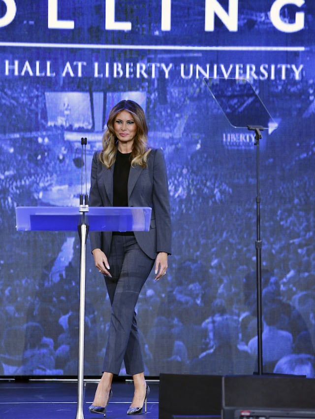 First Lady Melania Trump arrives to participate in a town hall meeting on opioids at Liberty University in Lynchburg, Virginia on November 28, 2018. (Photo credit: NICHOLAS KAMM/AFP/Getty Images)