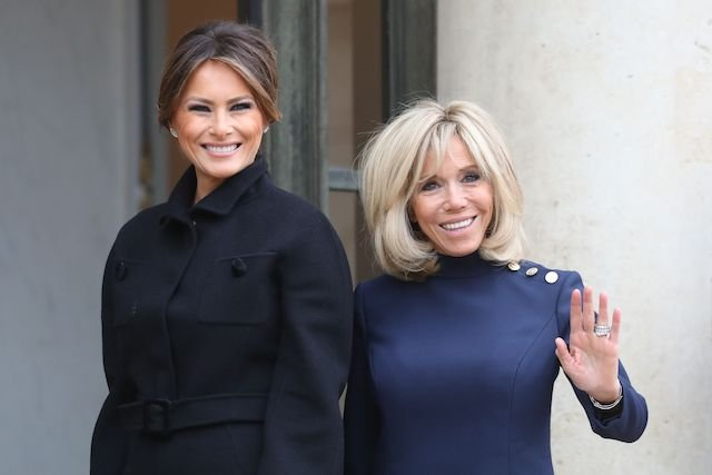 US First Lady Melania Trump (L) arrives at the Elysee Palace in Paris on November 10, 2018 for a meeting with French President's wife Brigitte Macron, on the sidelines of commemorations marking the 100th anniversary of the 11 November 1918 armistice, ending World War I. (Photo credit: LUDOVIC MARIN/AFP/Getty Images)