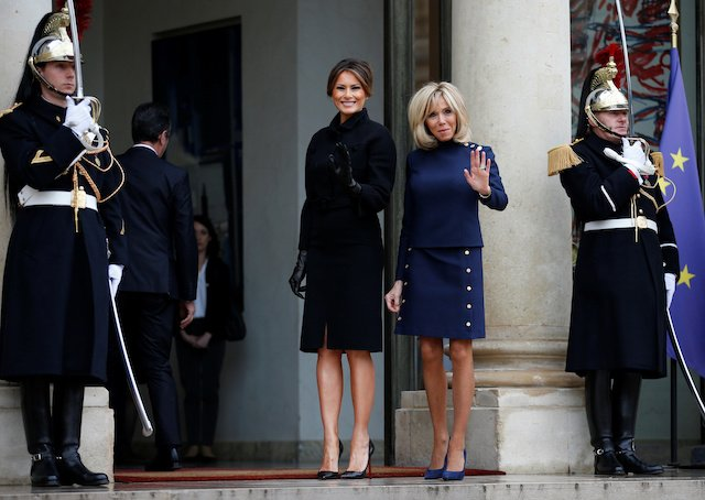 Brigitte Macron, wife of French President Emmanuel Macron, greets U.S. first lady Melania Trump at the Elysee Palace on the eve of the commemoration ceremony for Armistice Day, 100 years after the end of the First World War, in Paris, France, November 10, 2018. REUTERS/Vincent Kessler