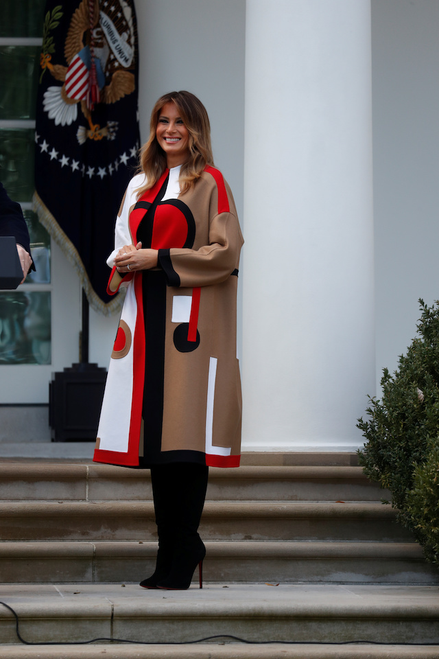 First lady Melania Trump arrives prior to U.S. President Donald Trump participates in the 71st presentation of the National Thanksgiving Turkey in the White House Rose Garden of the White House in Washington, U.S., November 20, 2018. REUTERS/Leah Millis