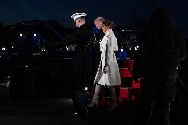 US President Donald Trump and First Lady Melania Trump attend the lighting of the National Christmas Tree in Washington, DC, on November 28, 2018 (Photo credit: JIM WATSON/AFP/Getty Images)