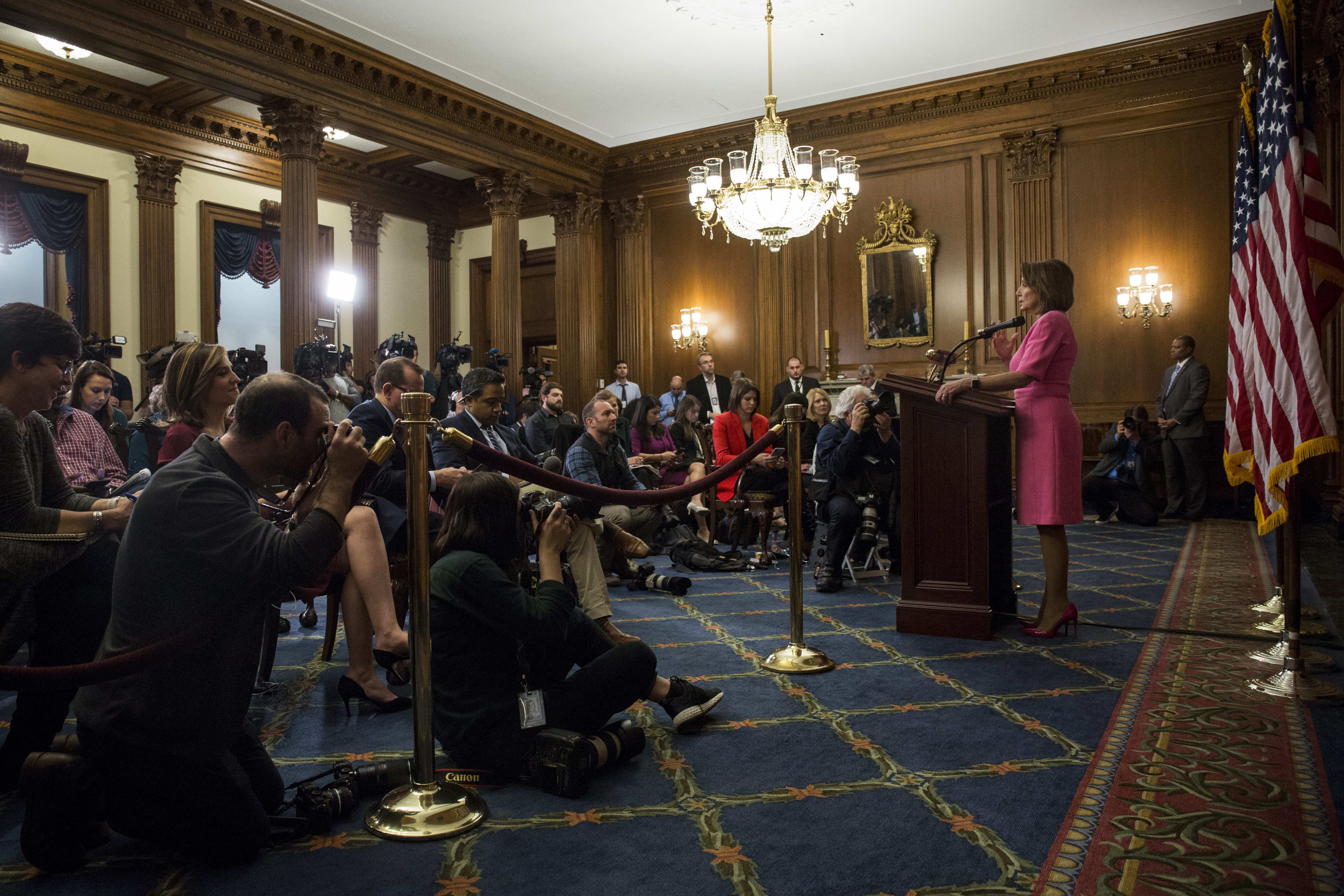 House Minority Leader Nancy Pelosi (D-CA) holds a news conference following the 2018 midterm elections at the Capitol Building on November 7, 2018 in Washington, DC. (Zach Gibson/Getty Images)