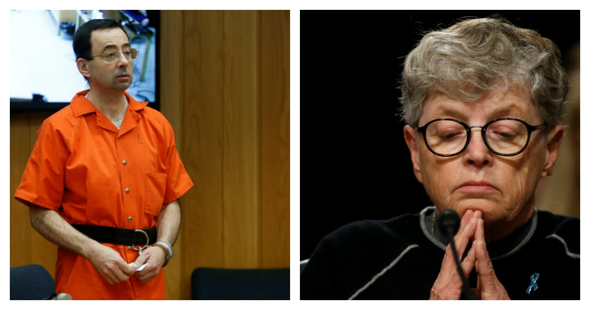 A former Michigan State University president is facing charges in relation to the Larry Nassar sex abuse scandal. Left, REUTERS/Rebecca Cook/ Right, REUTERS/ Leah Millis