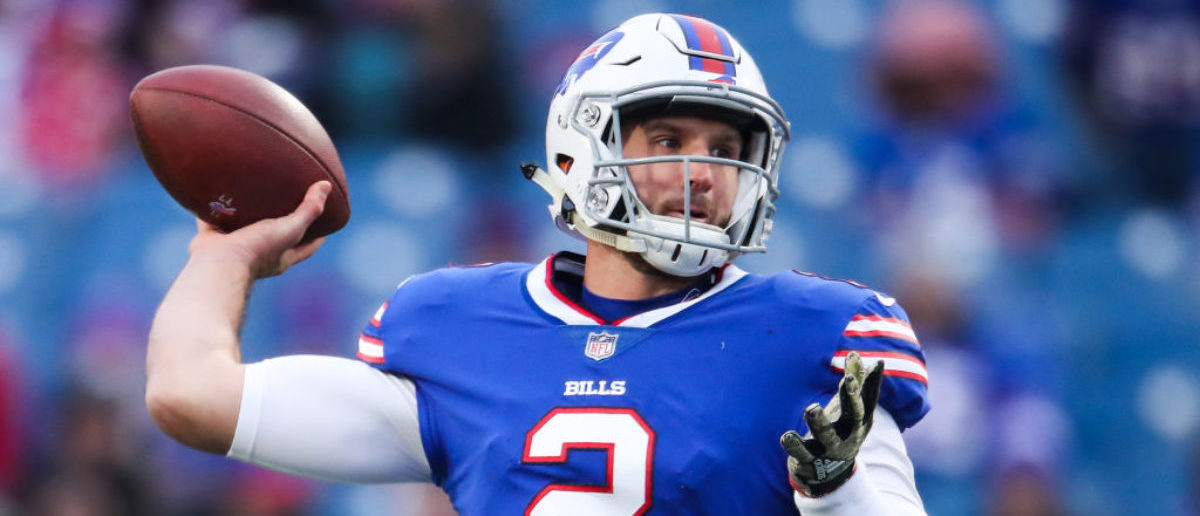 ORCHARD PARK, NY - NOVEMBER 12: Nathan Peterman #2 of the Buffalo Bills throws the ball against the New Orleans Saints during the fourth quarter on November 12, 2017 at New Era Field in Orchard Park, New York. (Photo by Tom Szczerbowski/Getty Images)