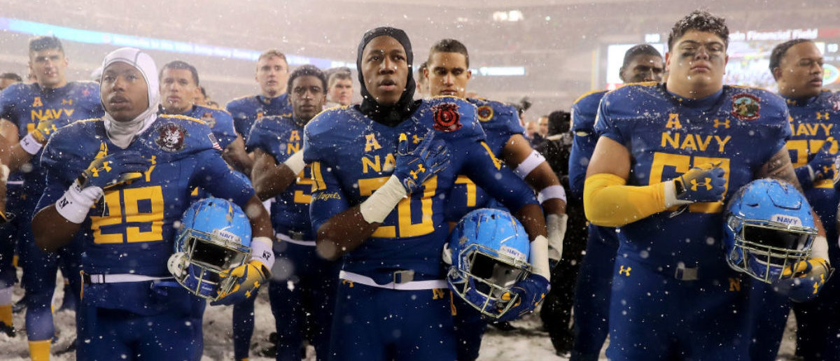 PHILADELPHIA, PA - DECEMBER 09: The Navy Midshipmen sing the Navy Blue and Gold after the loss to the Army Black Knights on December 9, 2017 at Lincoln Financial Field in Philadelphia, Pennsylvania.The Army Black Knights defeated the Navy Midshipmen 14-13. (Photo by Elsa/Getty Images)