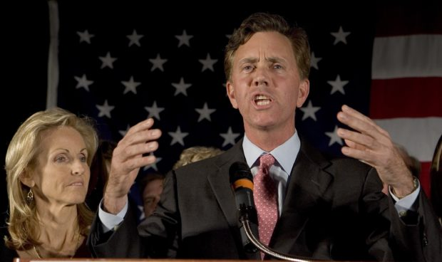 MERIDEN, CT - NOVEMBER 7: Democratic candidate Ned Lamont along with his wife Annie (L), concedes the election to Sen. Joseph I. Lieberman (D-CT) at the Sheraton Four Points Hotel November 7, 2006 in Meriden, Connecticut. In a highly divisive campaign, Lamont ran against Lieberman, a three-term Democratic incumbent who lost the party primary in August forcing him to run as an independent. (Photo by Bob Falcetti/Getty Images)