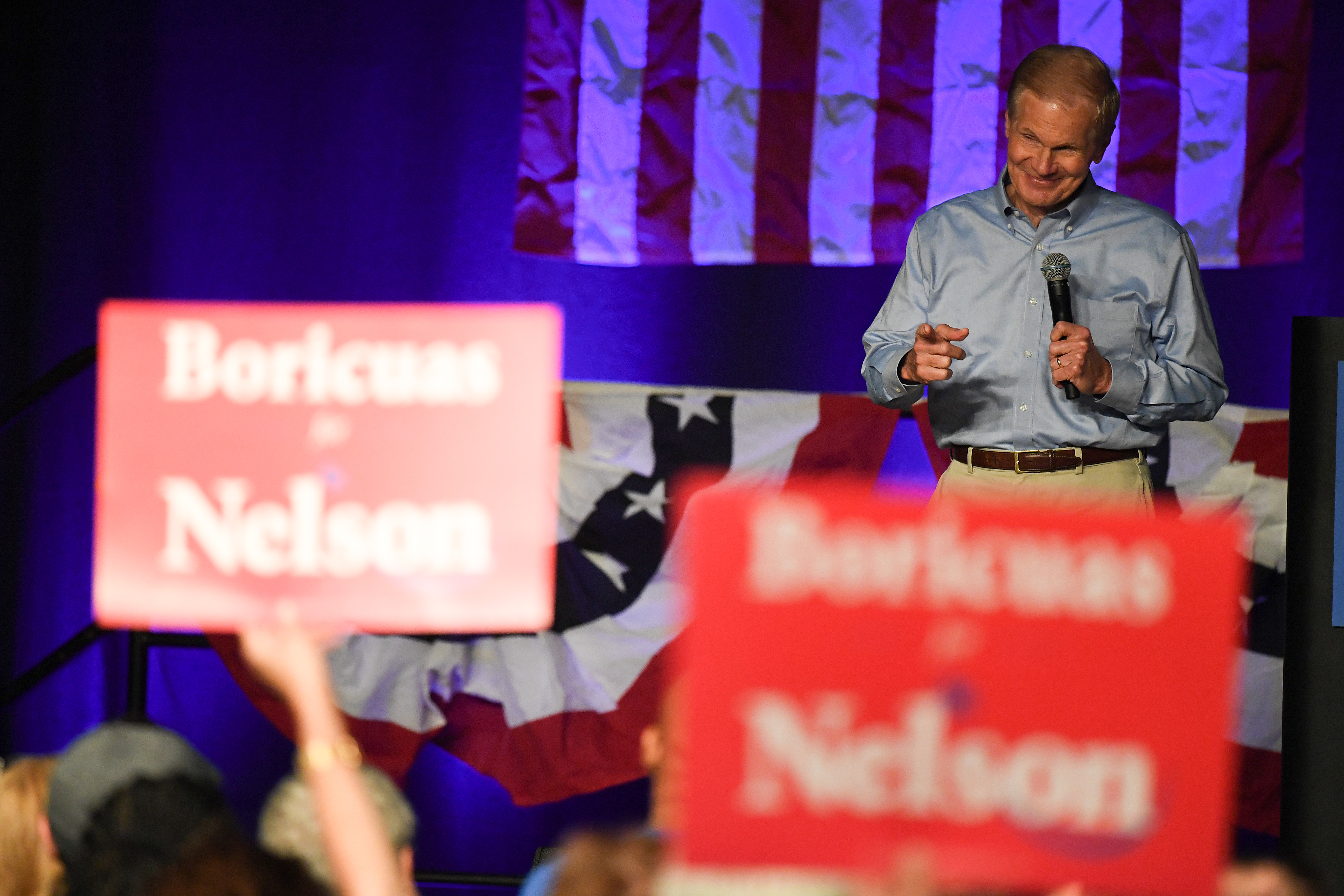 Senator Bill Nelson addresses the crowd during a campaign rally in support for Florida Democratic gubernatorial candidate Andrew Gillum at the CFE arena on November 3, 2018 in Orlando, Florida. (Jeff J Mitchell/Getty Images)