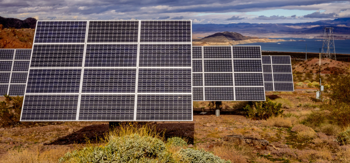 Pictured are solar panels near Lake Mead ,Nevada. Shutterstock