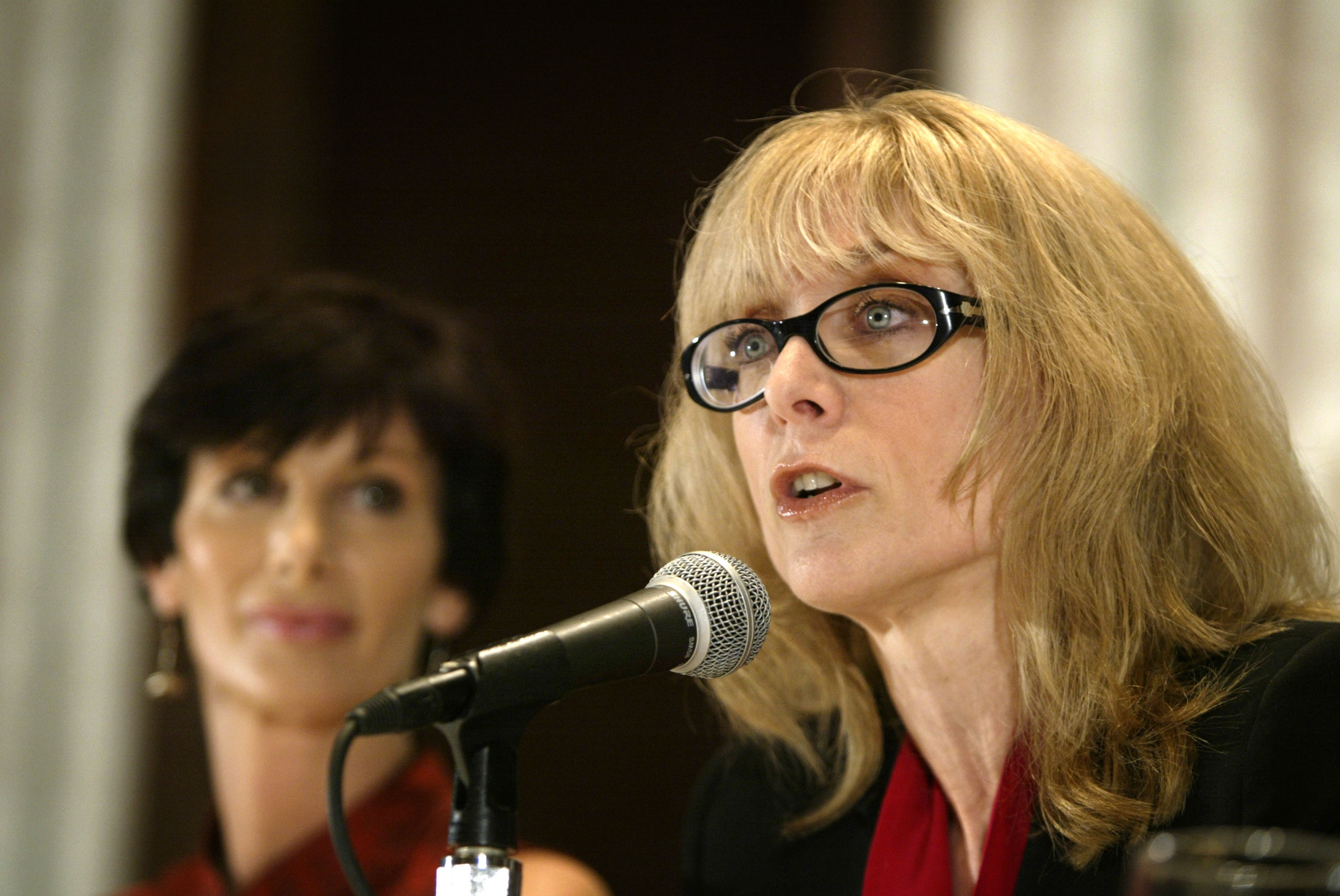 LOS ANGELES - APRIL 22: Porn actress Nina Hartley (R) speaks as former porn actress and co-founder of AIM (Adult Industry Medical) HealthCare Foundation, Dr. Sharon Mitchell (L), looks on during an AIM press conference on the outbreak of the HIV in pornographic entertainment industry on April 22, 2004 in Los Angeles, California. Getty Images/ David McNew