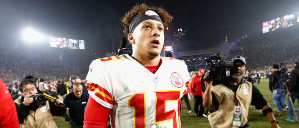 Patrick Mahomes #15 of the Kansas City Chiefs walks off the field after being defeated by the Los Angeles Rams 54-51 in a game at Los Angeles Memorial Coliseum on November 19, 2018 in Los Angeles, California. (Photo by Sean M. Haffey/Getty Images)