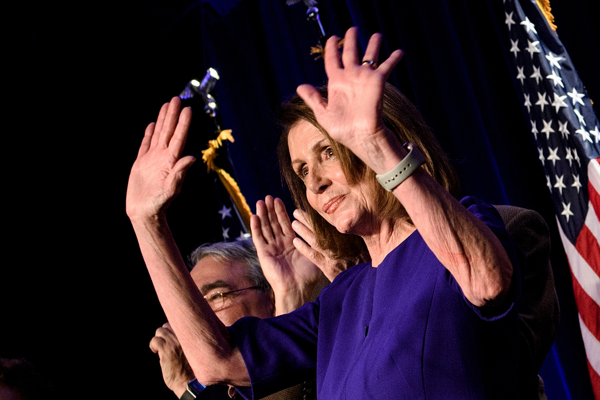 House Minority Leader Nancy Pelosi celebrates a Democratic Party takeover of the House of Representatives during a midterm election night party hosted by the DCCC on November 6, 2018 (Brendan Smialowski/AFP/Getty Images)