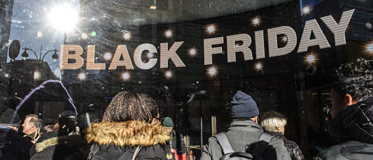 NEW YORK, NY - NOVEMBER 23: People shop on Black Friday on November 23, 2018 in New York City. The day after Thanksgiving, Black Friday is considered to be the start of the holiday shopping season, with shoppers heading to stores and online for deals. (Photo by Stephanie Keith/Getty Images)
