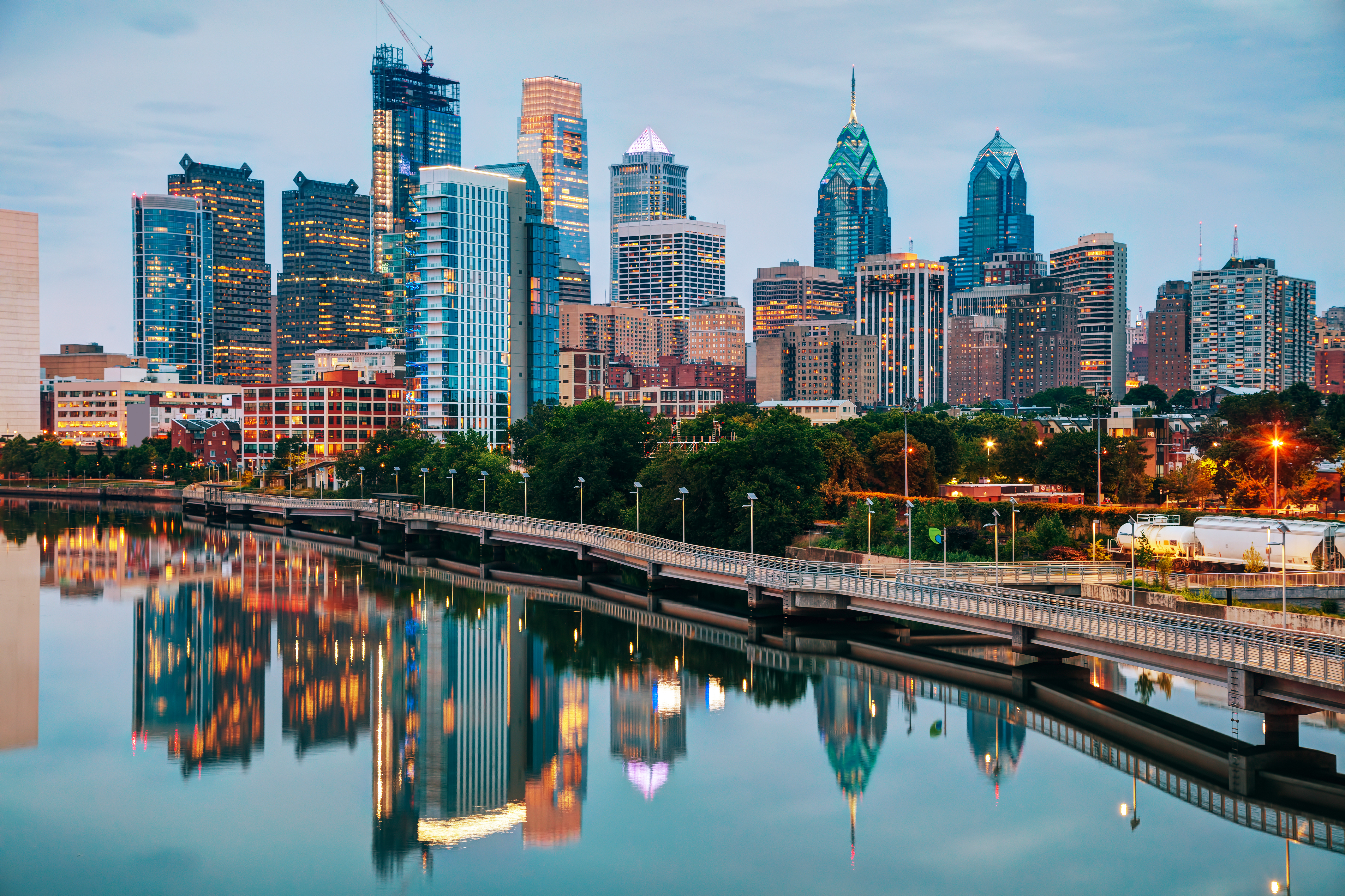Philadelphia skyline at night with the Schuylkill River. SHUTTERSTOCK/ photo.ua