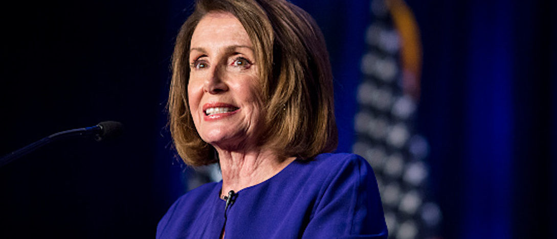 WASHINGTON, DC - NOVEMBER 06: House Minority Leader Nancy Pelosi speaks during a DCCC election watch party at the Hyatt Regency on November 6, 2018 in Washington, DC. Today millions of Americans headed to the polls to vote in the midterm elections that will decide what party will control the House of Representatives and the U.S. Senate. (Photo by Zach Gibson/Getty Images)