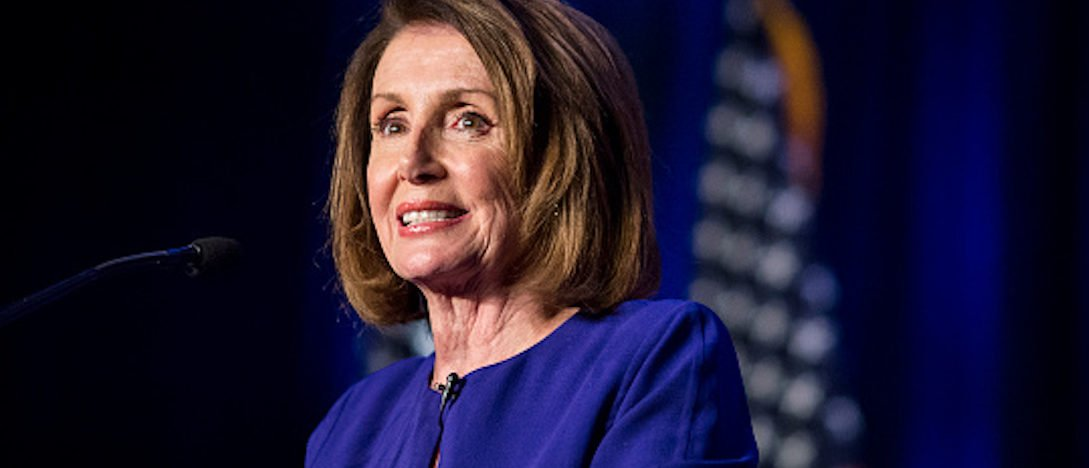 WASHINGTON, DC - NOVEMBER 06: House Minority Leader Nancy Pelosi speaks during a DCCC election watch party at the Hyatt Regency on November 6, 2018 in Washington, DC. Today millions of Americans headed to the polls to vote in the midterm elections that will decide what party will control the House of Representatives and the U.S. Senate. (WASHINGTON, DC - NOVEMBER 06: House Minority Leader Nancy Pelosi speaks during a DCCC election watch party at the Hyatt Regency on November 6, 2018 in Washington, DC. Today millions of Americans headed to the polls to vote in the midterm elections that will decide what party will control the House of Representatives and the U.S. Senate. (Photo by Zach Gibson/Getty Images)
