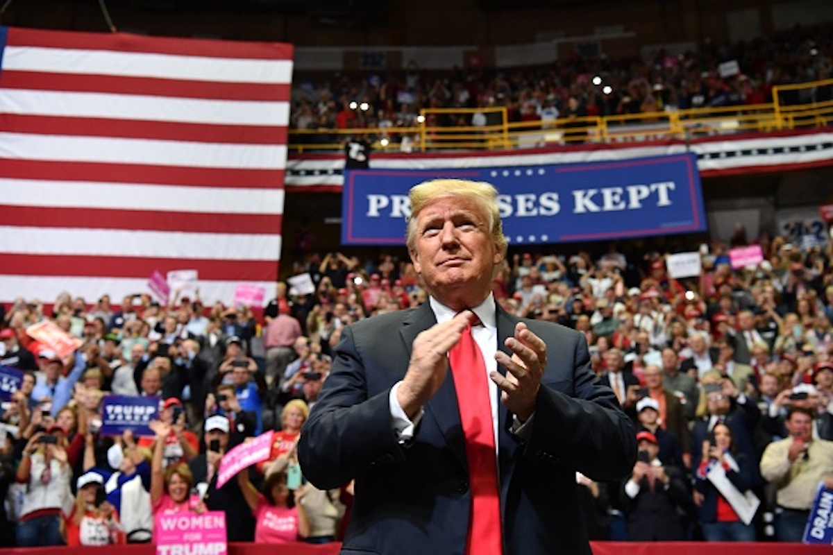 "US President Donald Trump arrives for a ""Make America Great Again"" campaign rally at McKenzie Arena, in Chattanooga, Tennessee on November 4, 2018. (Photo by Nicholas Kamm / AFP) (Photo credit should read NICHOLAS KAMM/AFP/Getty Images)"