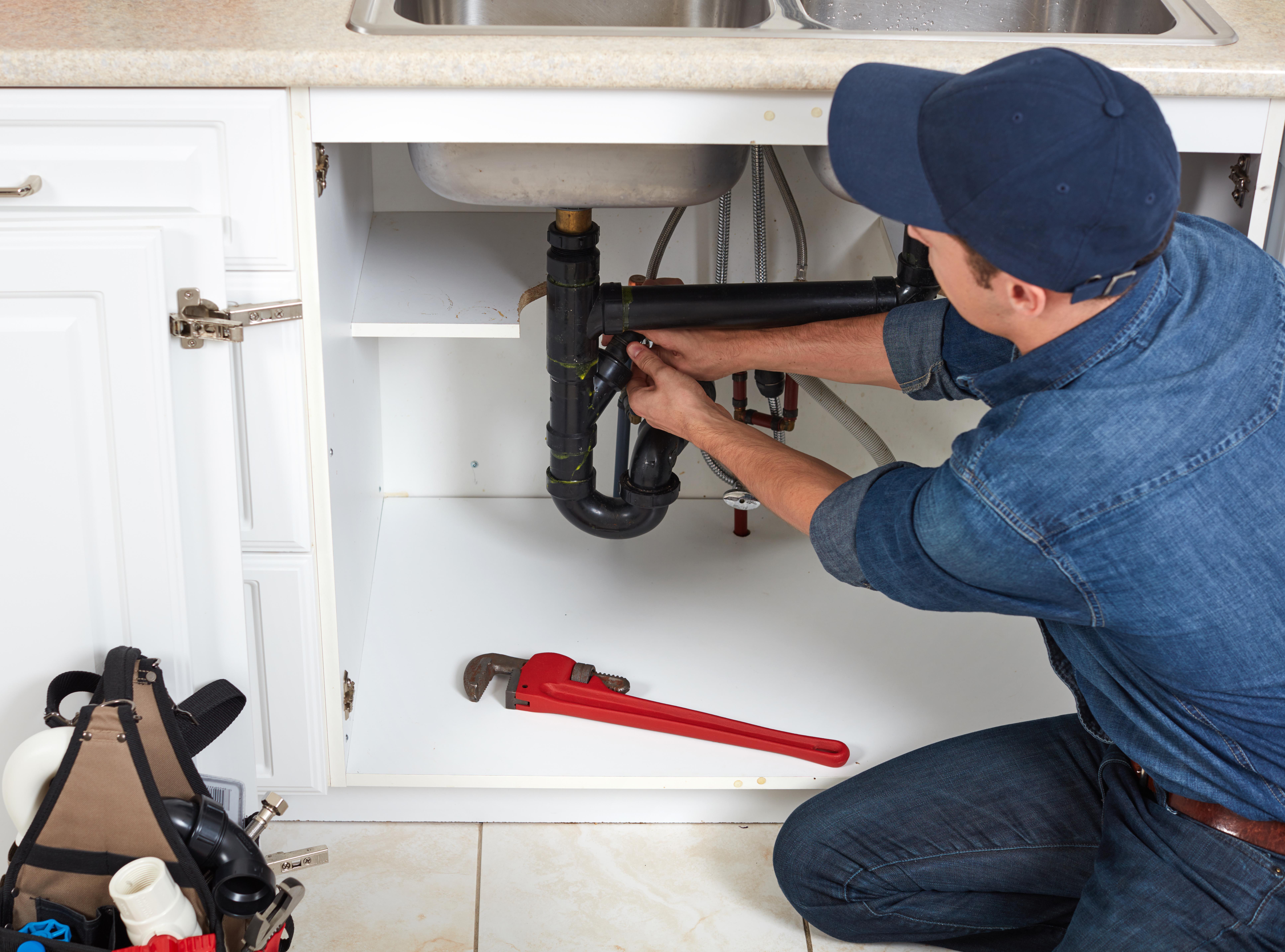 A plumber fixes a clogged sink (Shutterstock/ kurhan)