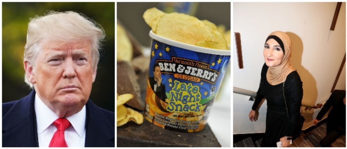 President Trump, Ben & Jerry's, Linda Sarsour (LEFT: MANDEL NGAN/AFP/Getty Images CENTER: Mike Coppola/Getty Images for Ben & Jerry's, RIGHT: Bennett Raglin/Getty Images for NAACP LDF)
