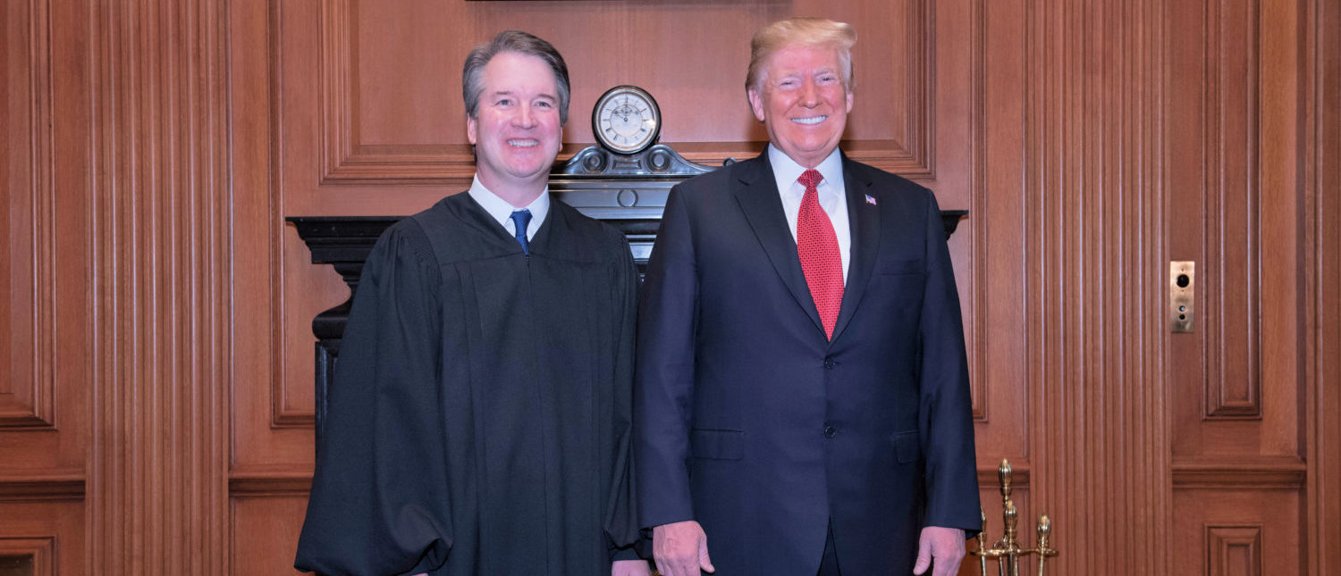 President Donald J. Trump and Justice Brett M. Kavanaugh at a courtesy visit in the Justices' Conference Room prior to the investiture ceremony. (Fred Schilling, Collection of the Supreme Court of the United States)