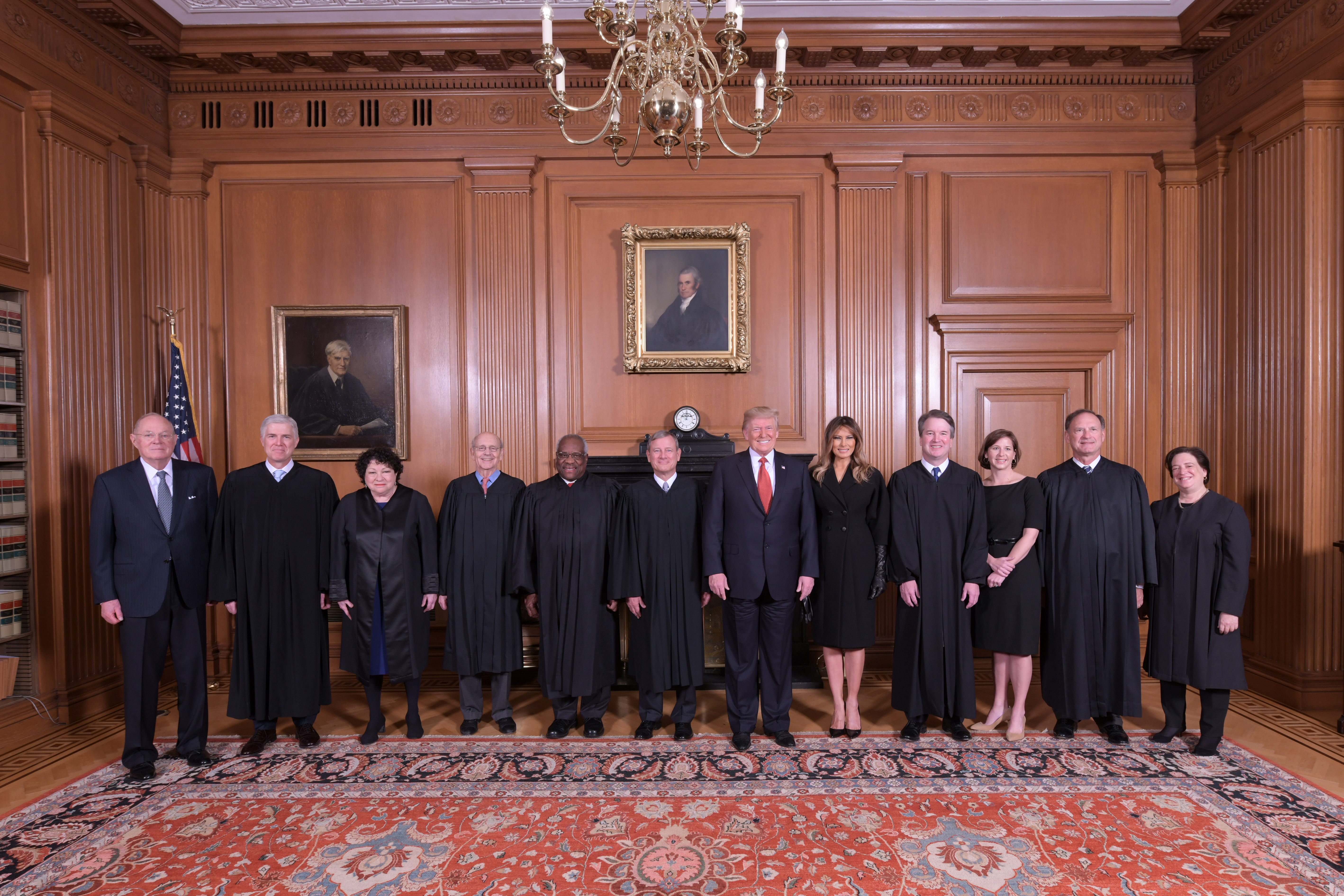 The President and First Lady with Associate Justice Brett M. Kavanaugh and his wife, Mrs. Ashley Kavanaugh, and the other members of the Supreme Court in the Justices' Conference Room at a courtesy visit prior to the investiture ceremony. Fred Schilling, Collection of the Supreme Court of the United States