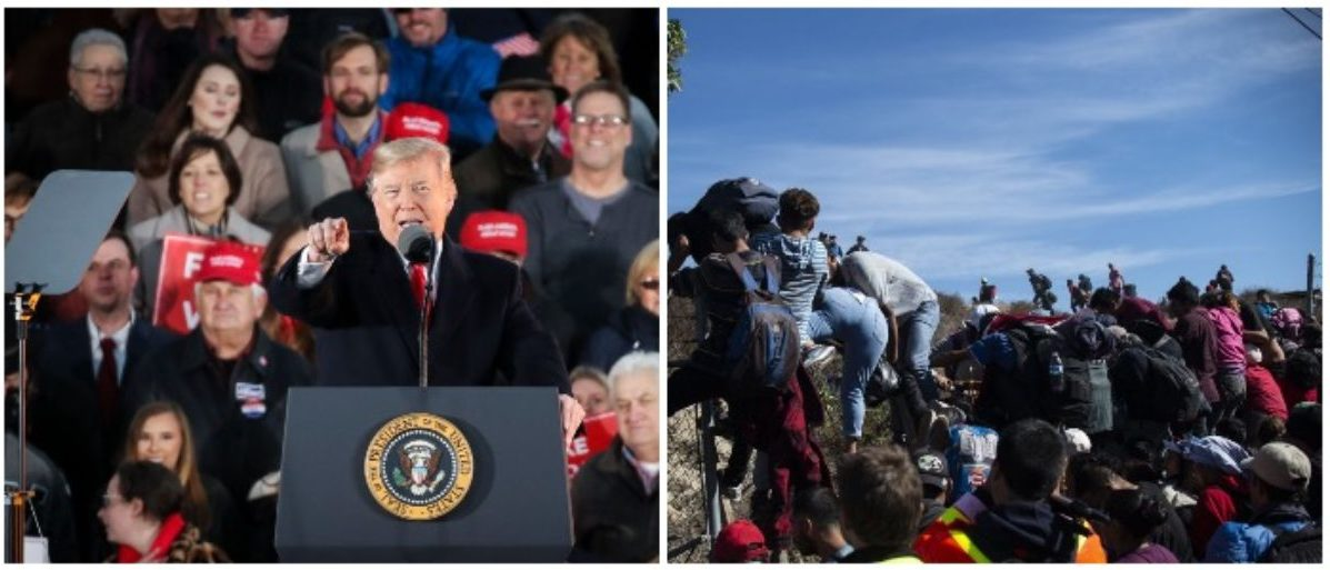 President Trump and the caravan (LEFT: Drew Angerer/Getty Images RIGHT: PEDRO PARDO/AFP/Getty Images)