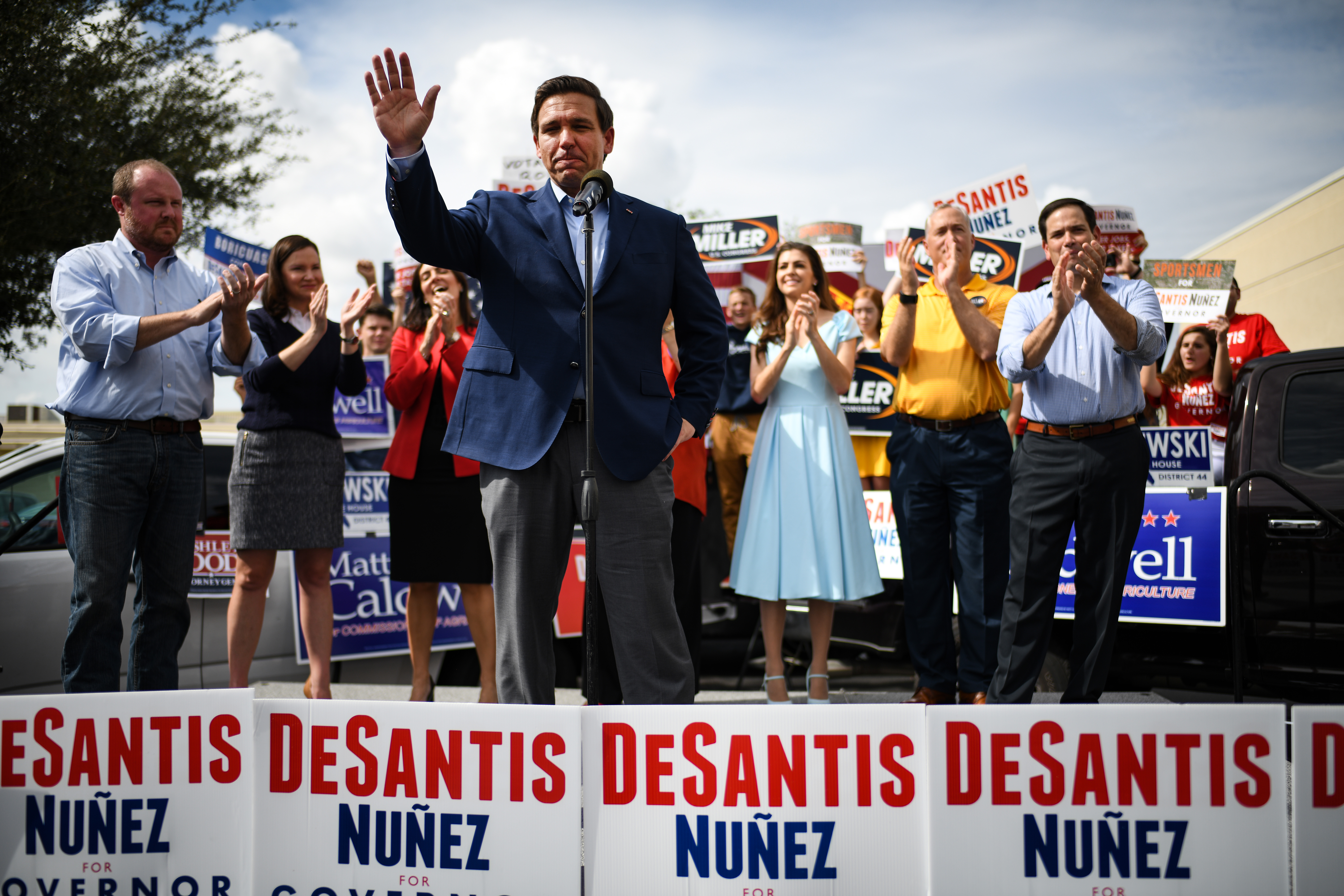 Republican candidate for Governor of Florida Ron DeSantis attends a rally at Freedom Pharmacy on the final day of campaigning in the midterm elections on November 5, 2018 in Orlando, Florida. (Jeff J Mitchell/Getty Images)
