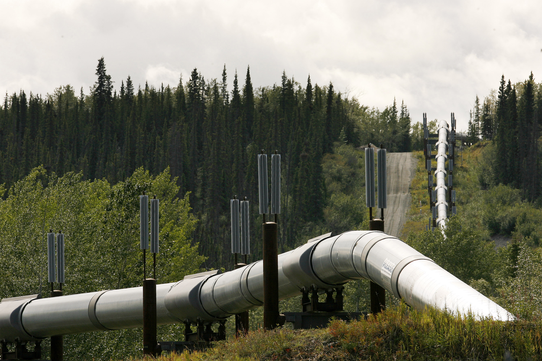 A section of the Trans-Alaskan Pipeline is seen heading south near Glenallen