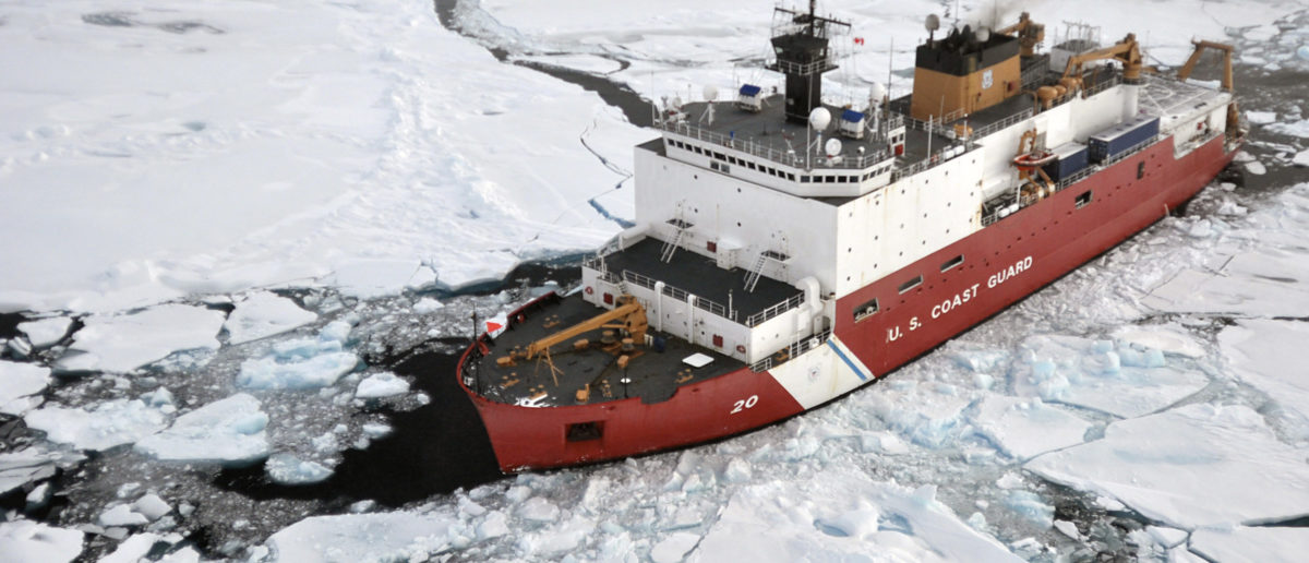 The Coast Guard Cutter Healy breaks ice ahead of the Canadian Coast Guard Ship Louis S. St-Laurent (not seen) during an Arctic expedition in this August 31, 2009 handout photo. Government scientists will embark next week on a research expedition to monitor acidification trends in the Arctic Ocean, which is considered vulnerable to the effects of absorption of atmospheric carbon, the U.S. Geological Survey said August 10, 2011. The USGS scientists will journey for seven weeks on the Coast Guard cutter as close to the North Pole as possible to take water samples and test for chemical indicators, officials said. REUTERS/U.S. Coast Guard/Patrick Kelley/Handout (UNITED STATES - Tags: SCI TECH TRANSPORT ENVIRONMENT) FOR EDITORIAL USE ONLY. NOT FOR SALE FOR MARKETING OR ADVERTISING CAMPAIGNS. THIS IMAGE HAS BEEN SUPPLIED BY A THIRD PARTY. IT IS DISTRIBUTED, EXACTLY AS RECEIVED BY REUTERS, AS A SERVICE TO CLIENTS - GM1E78B0VQ401