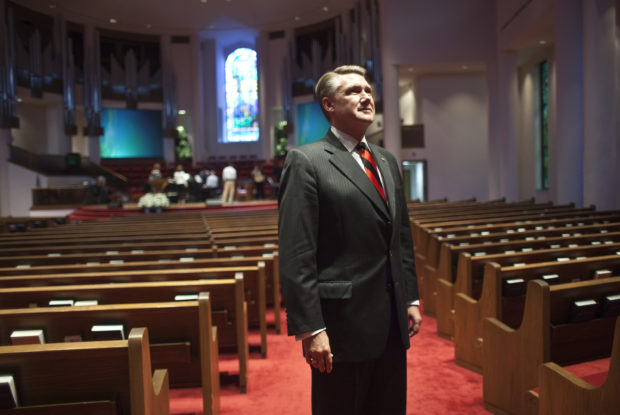 "Pastor Mark Harris of First Baptist Church stands for a portrait in the sanctuary prior to giving his sermon during the fifth and largest ""Pulpit Freedom Sunday"" in Charlotte"