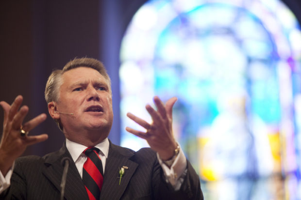 "Pastor Mark Harris of First Baptist Church gives his sermon during the fifth and largest ""Pulpit Freedom Sunday"" in Charlotte"