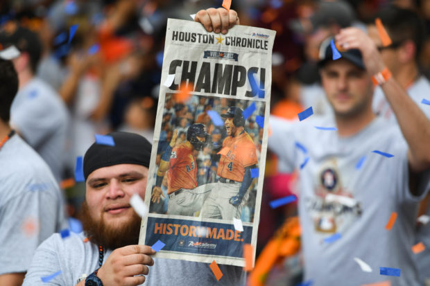 Nov 3, 2017; Houston, TX, USA; View of a Houston Chronicle cover during the World Series championship parade and rally for the Houston Astros in downtown Houston. Mandatory Credit: Shanna Lockwood-USA TODAY Sports - 10388197