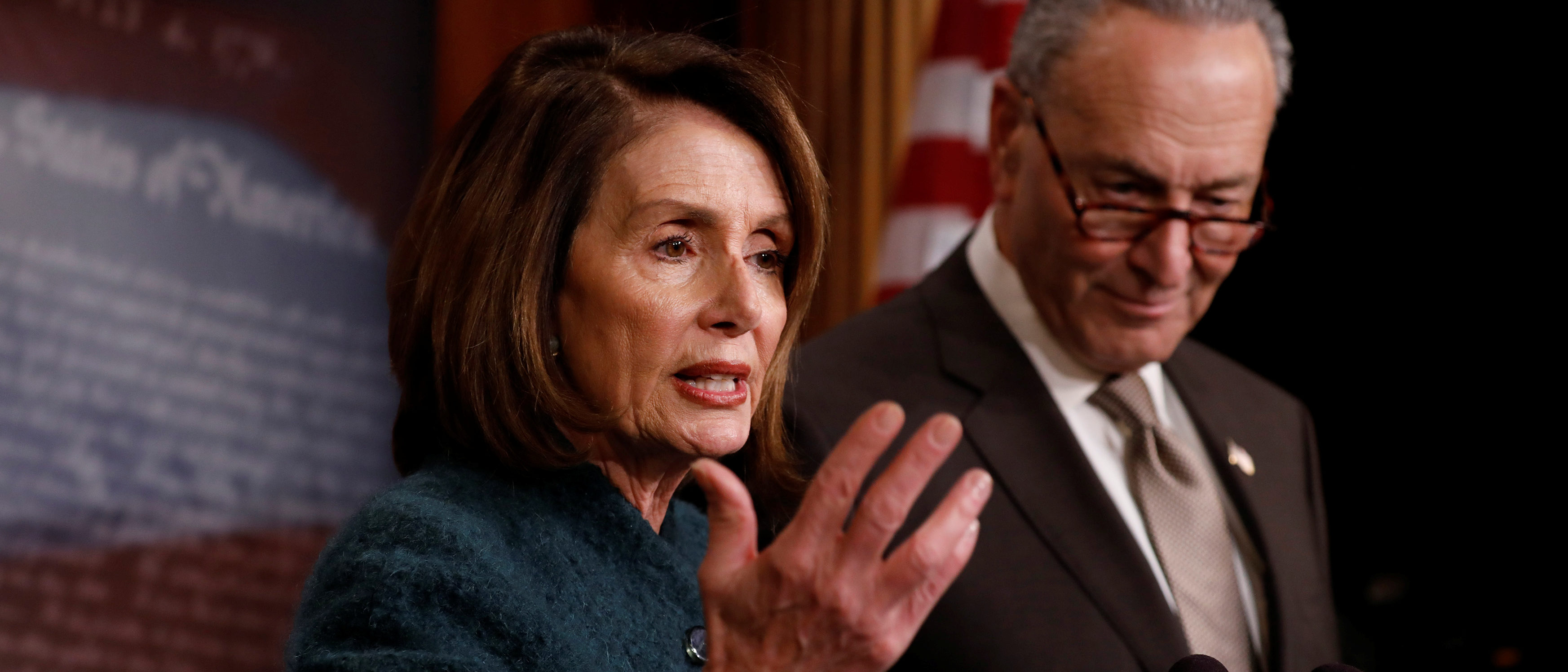 House Minority Leader Nancy Pelosi, accompanied by Senate Minority Leader Chuck Schumer, speaks at a news conference about the omnibus spending bill moving through Congress on Capitol Hill in Washington, U.S., March 22, 2018. REUTERS/Aaron P. Bernstein - RC1DFD3F0250