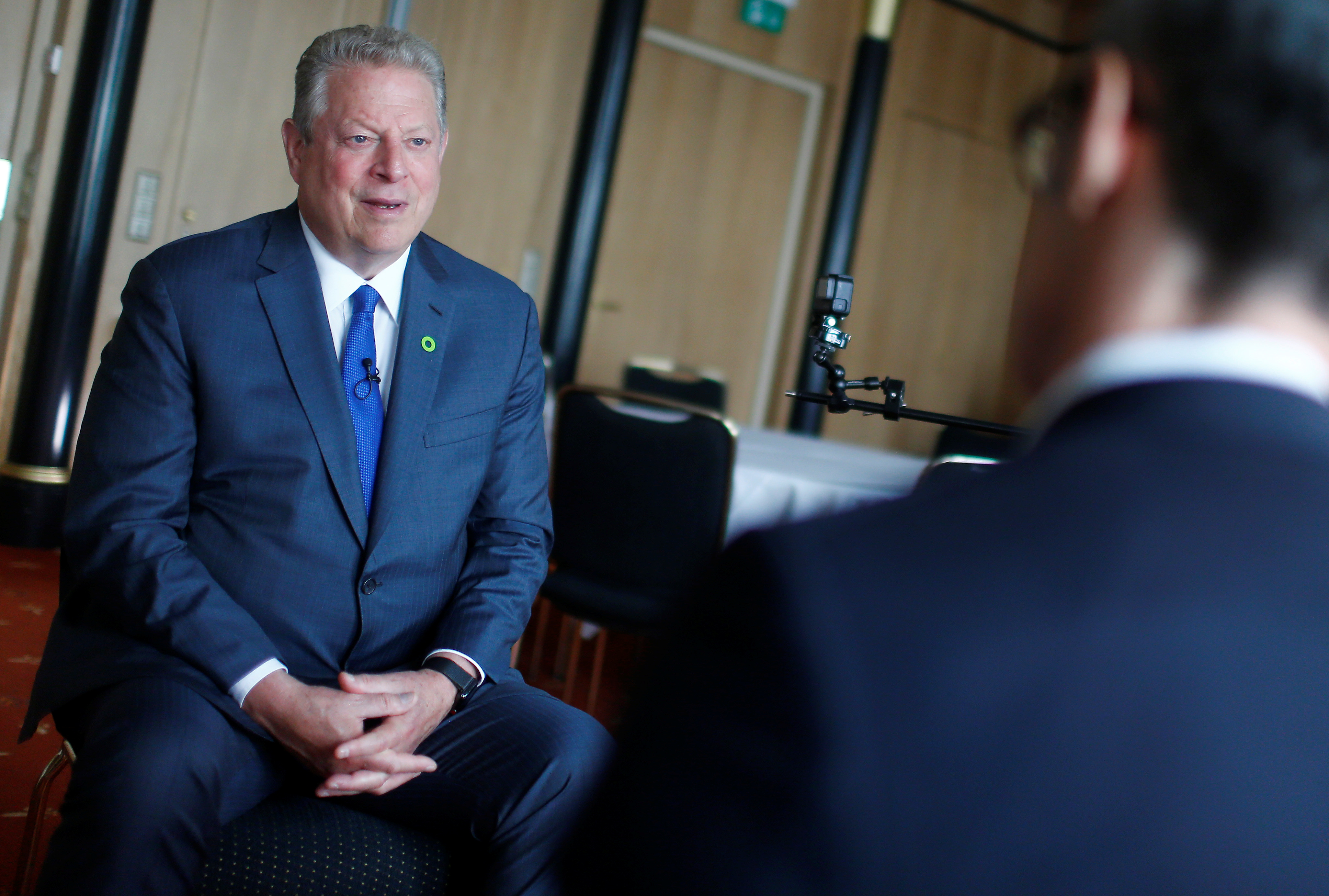 Former U.S. Vice President Al Gore attends an interview with Reuters in Berlin
