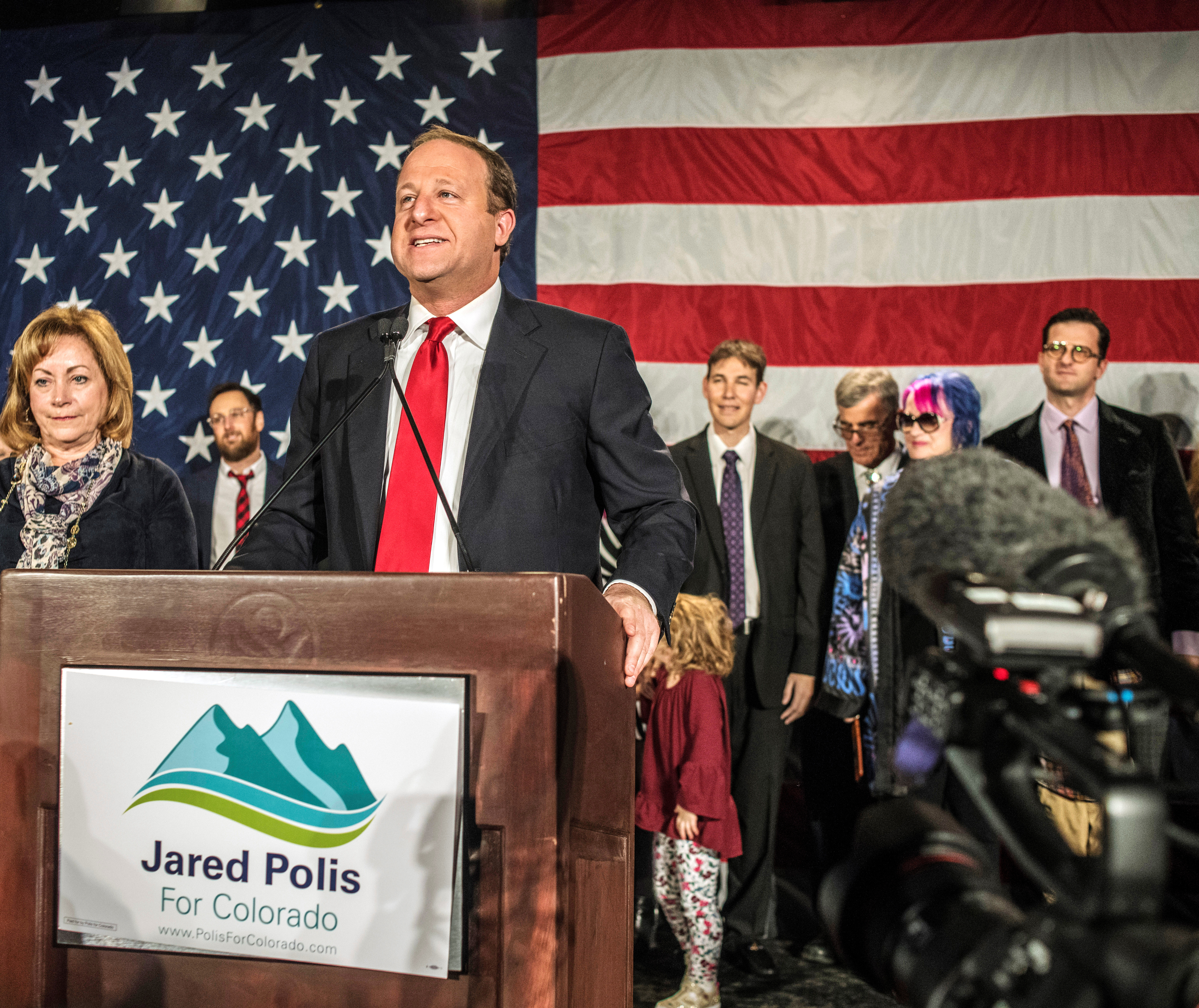 Democratic gubernatorial candidate Jared Polis speaks at his midterm election night party in Denver
