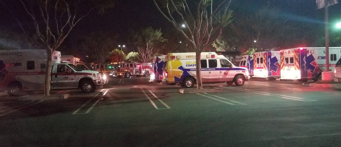 First responders are seen outside Borderline Bar and Grill in Thousand Oaks, California, U.S. November 8, 2018 in this image obtained from social media. Thomas Gorden/via