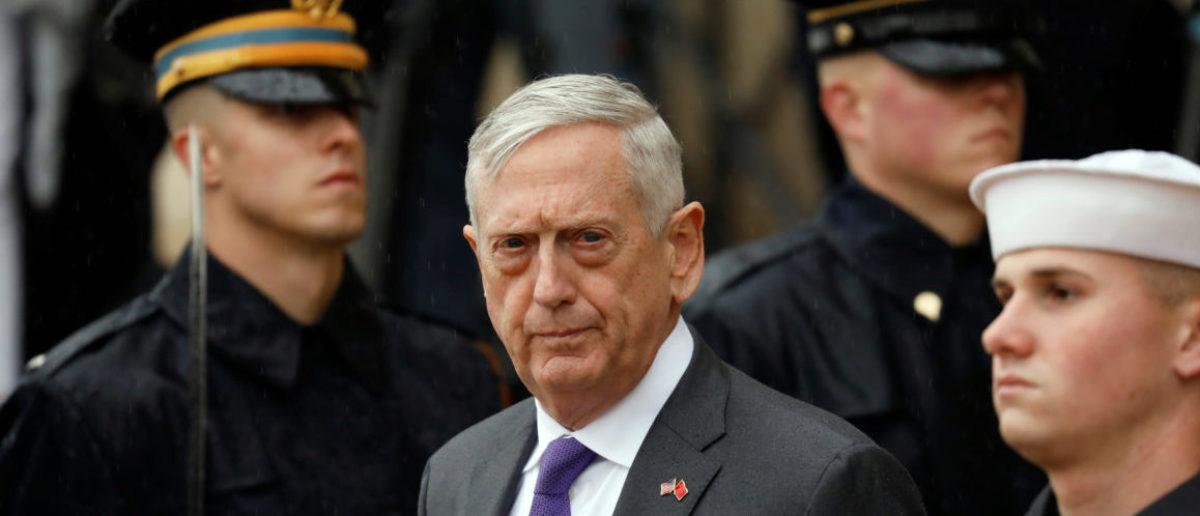 U.S. Defense Secretary James Mattis waits to welcome Chinese Minister of National Defense Gen. Wei Fenghe to the Pentagon in Arlington, Virginia, U.S., November 9, 2018. REUTERS/Yuri Gripa