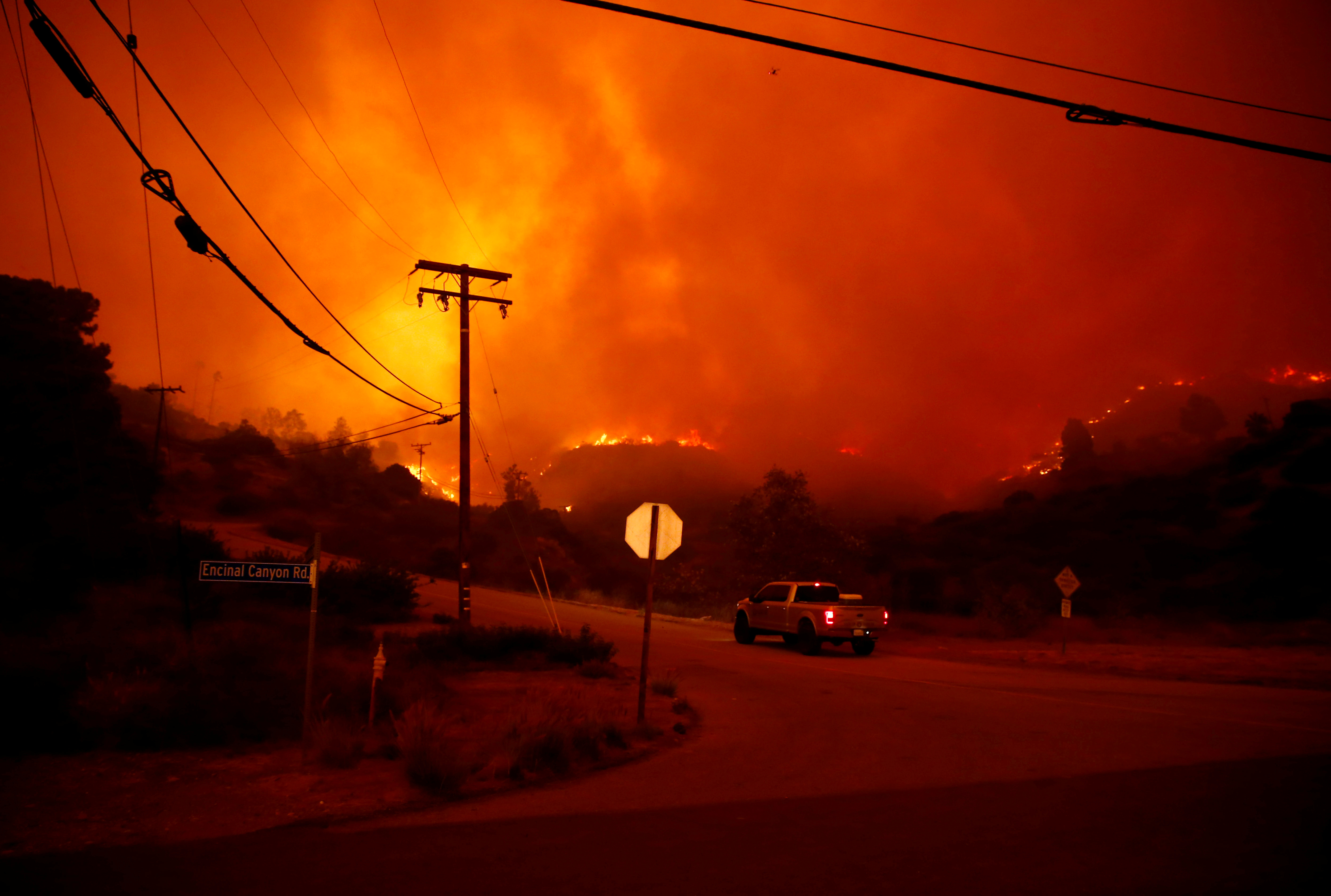 The Woolsey Fire burns in Malibu