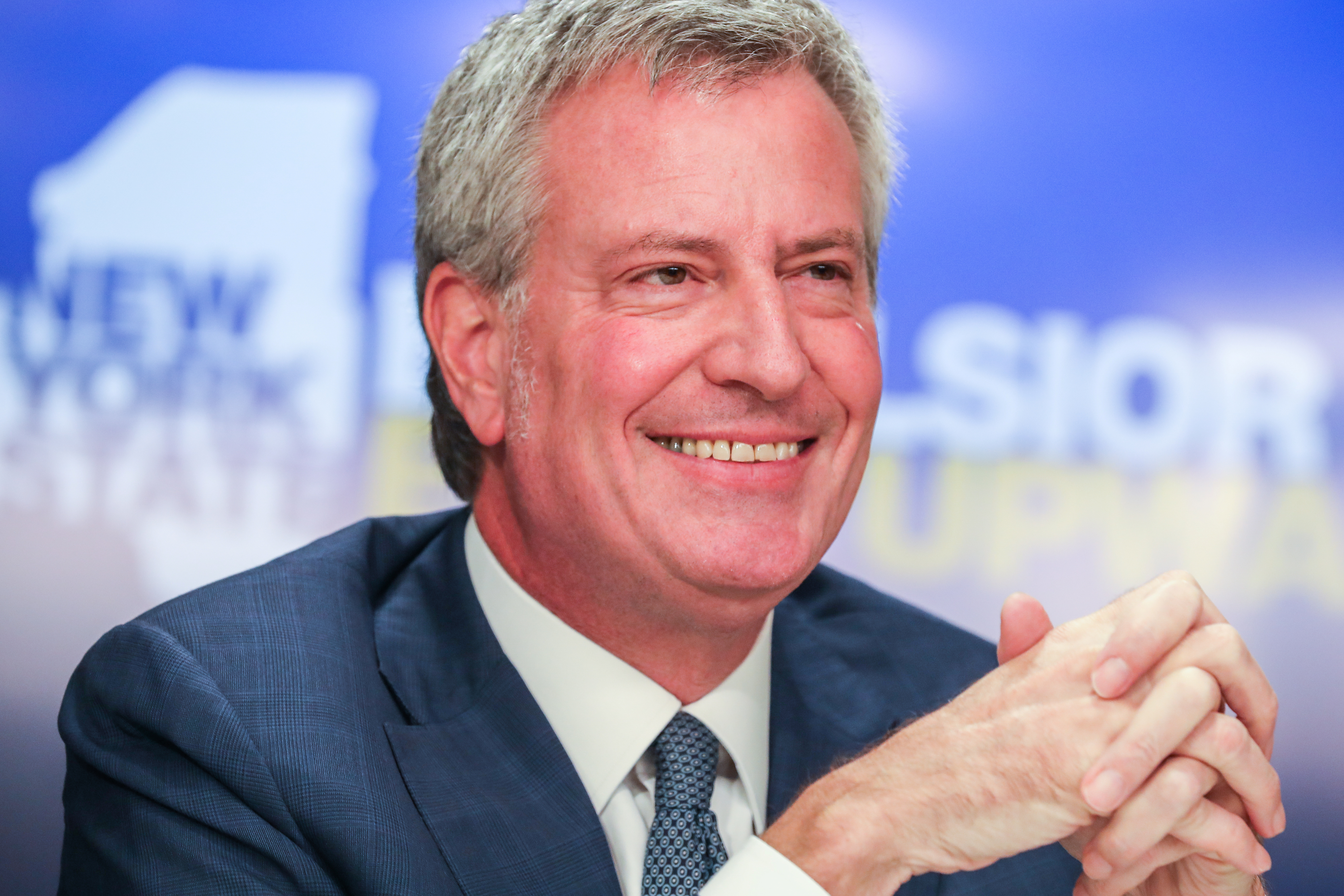 New York Mayor Bill de Blasio speaks during a news conference about Amazon's headquarters expansion to Long Island City in the Queens borough of New York