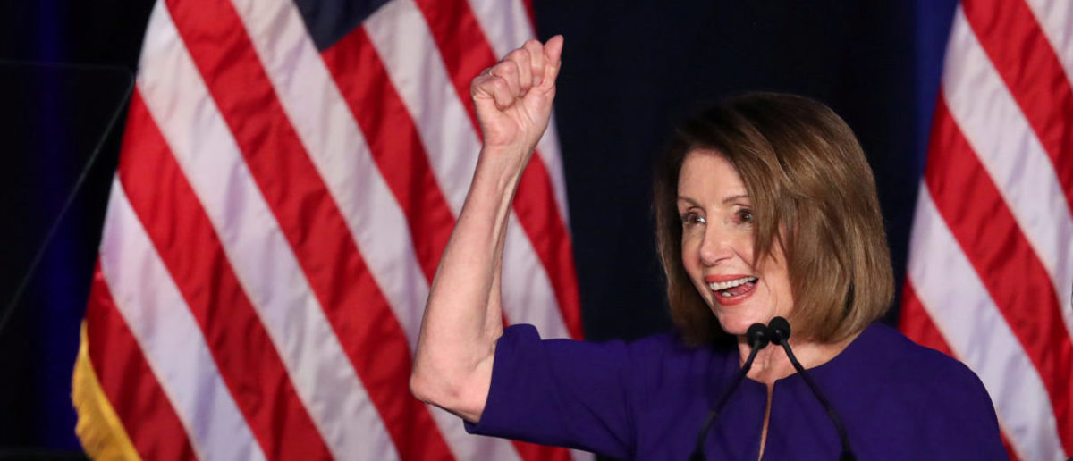 U.S. House Minority Leader Nancy Pelosi celebrates the Democrats winning a majority in the U.S. House of Representatives in the U.S. midterm elections during a Democratic election night party in Washington, U.S. November 6, 2018. REUTERS/Jonathan Ernst/