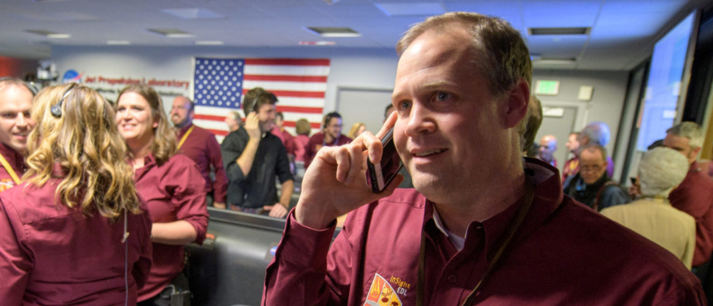 NASA Administrator Jim Bridenstine receives a congratulatory call from U.S. Vice President Mike Pence after receiving confirmation that the Mars InSight lander successfully touched down on the surface of Mars, inside the Mission Support Area at NASA's Jet Propulsion Laboratory in Pasadena, California, U.S., November 26, 2018. NASA/Bill Ingalls/Handout via REUTERS