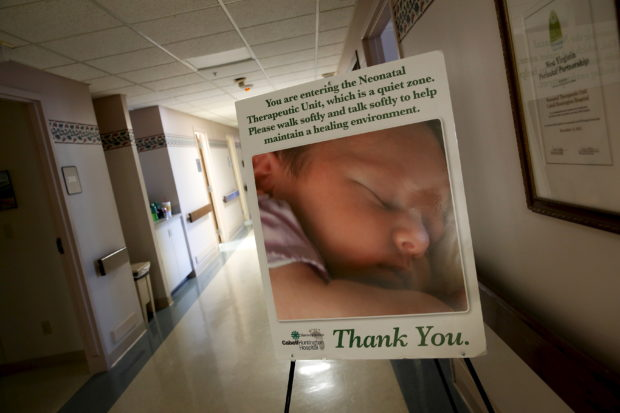 A sign marks the entrance to the Neonatal Therapeutic Unit at Cabell Huntington Hospital, where staff members have acted to treat an alarming number of drug-dependent newborns, in Huntington, West Virginia, October 19, 2015. In 2018, the numbers are showing improvement. REUTERS/Jonathan Ernst
