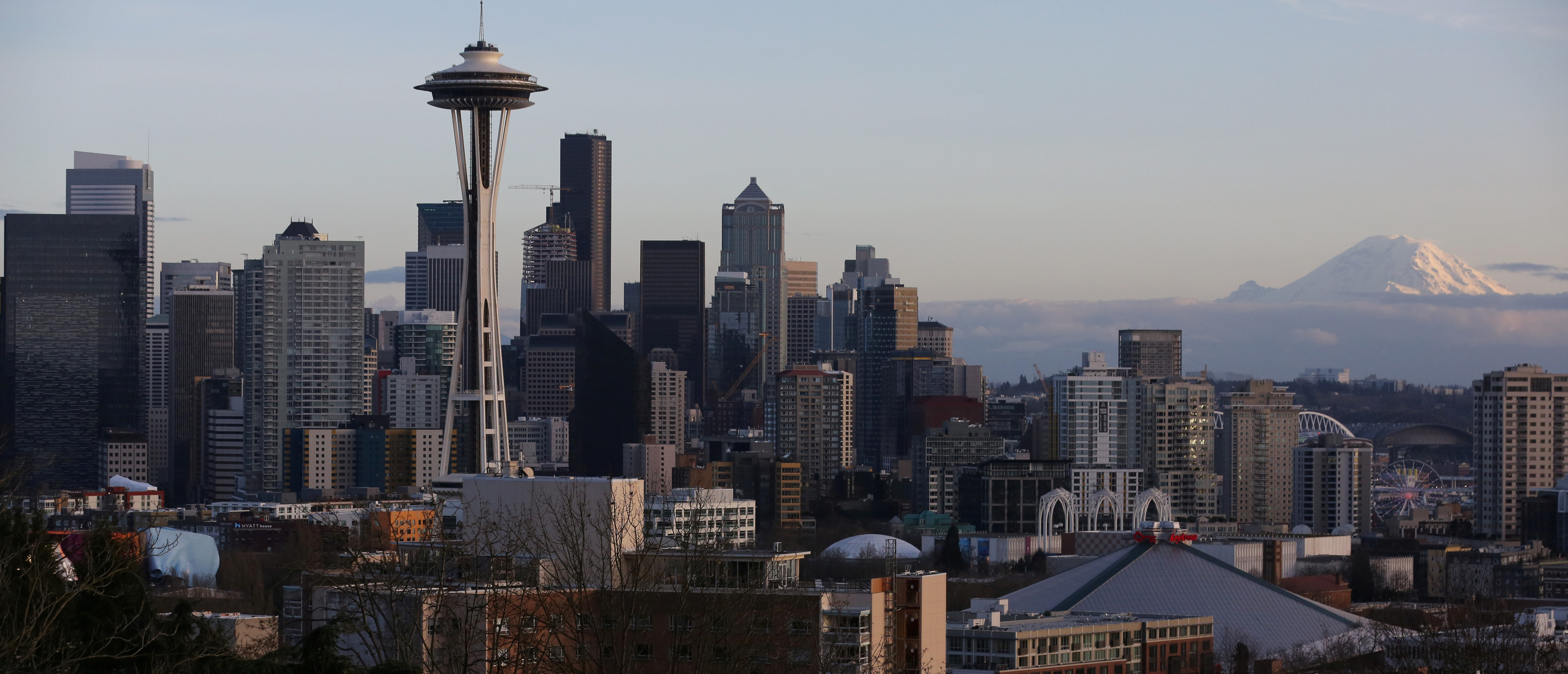 The Space Needle and Mount Rainier are seen on the skyline of Seattle, Washington, U.S. February 11, 2017. REUTERS/Chris Helgren - RC120DB522E0