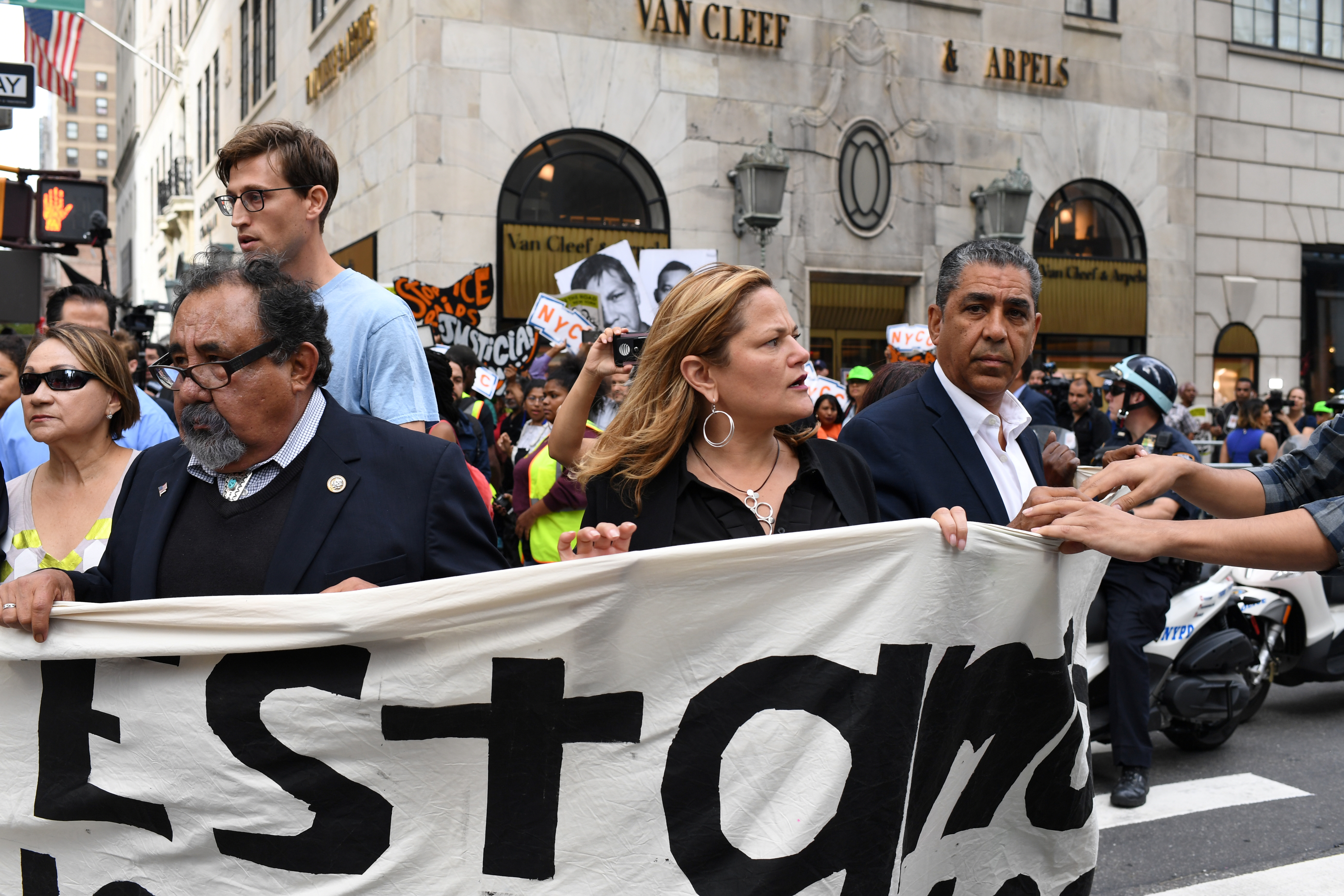 Congressman Espaillat, Speaker of the New York City Council Mark-Viverito, and Congressman Grijalva march onto 5th Avenue to block traffic during a rally to demand that U.S. President Donald Trump works with Congress to pass a clean DREAM Act in New York