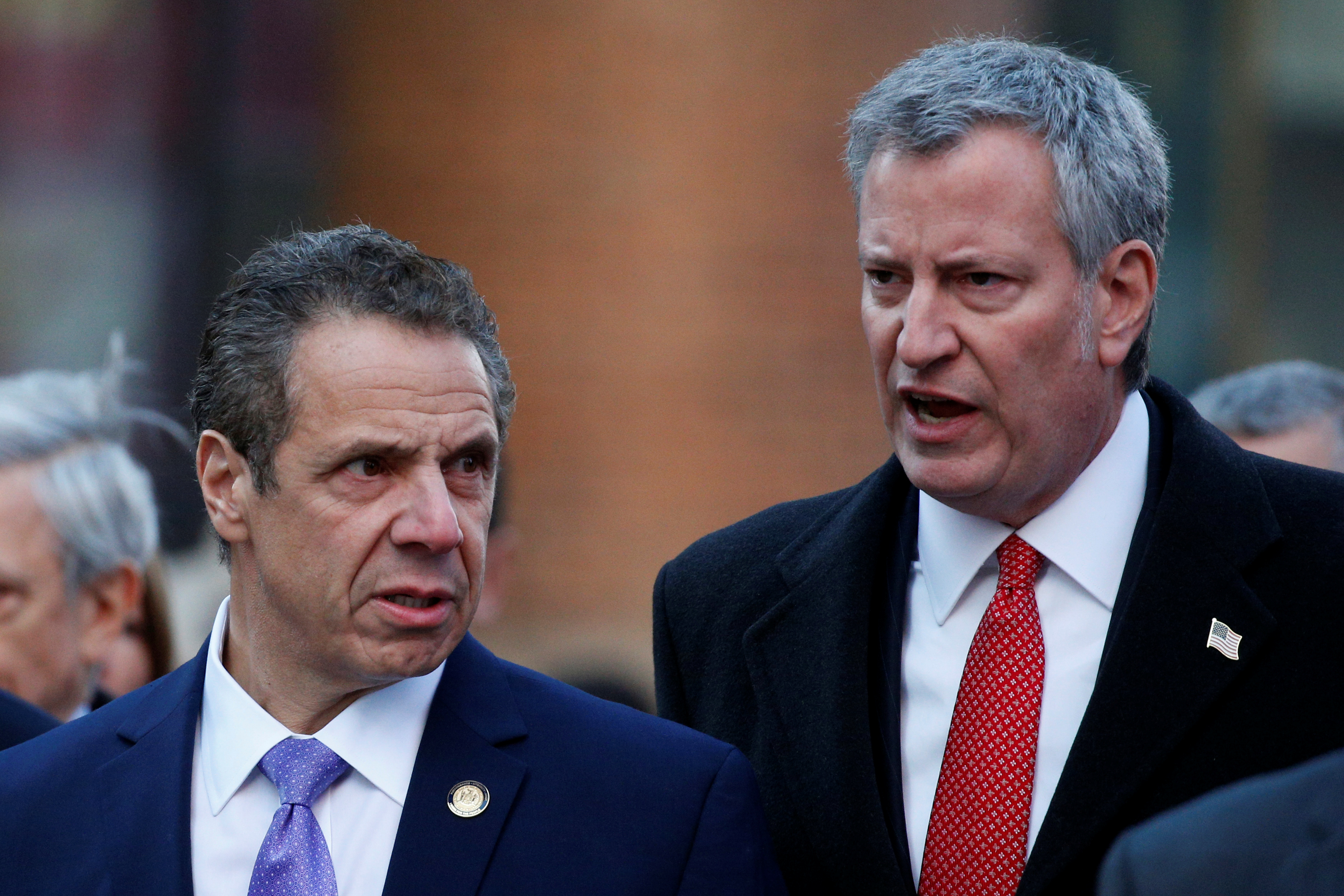 New York State Governor Andrew Cuomo and New York Mayor Bill de Blasio speak as they arrive for a news conference outside the New York Port Authority Bus Terminal following reports of an explosion, in New York City